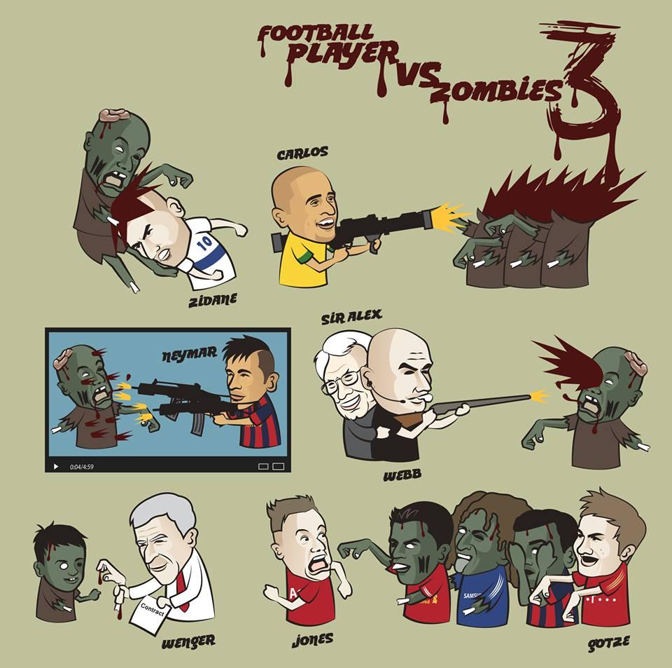 Лучшая карикатура дня. Футболисты против зомби. Часть III
