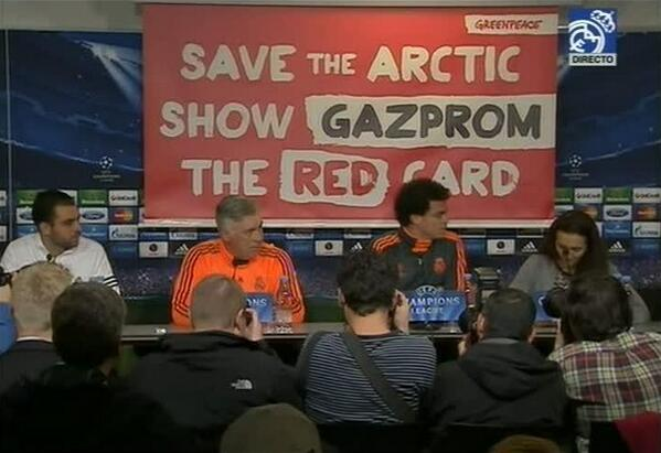 Пресс-конференция «Реала» прерывалась из-за баннера против «Газпрома» (ФОТО)