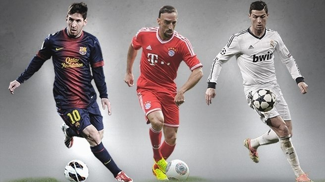 Месси, Рибери и Роналду претендуют на звание лучшего игрока Европы по версии УЕФА