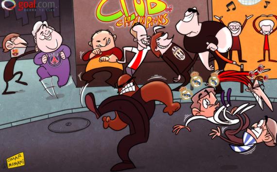 Карикатура. Вечеринка европейских чемпионов