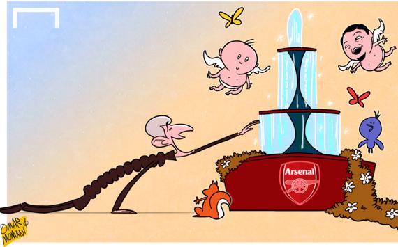 Лучшая карикатура дня. Арсен Венгер пьет из фонтана молодости