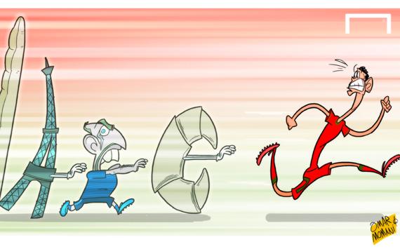 Лучшая карикатура дня. Криштиану Роналду убегает от сборной Франции