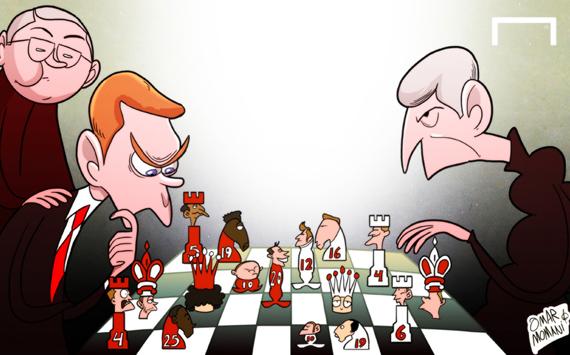 Лучшая карикатура дня. Фергюсон наблюдает за дуэлью Мойеса и Венгера на «Олд Траффорд»