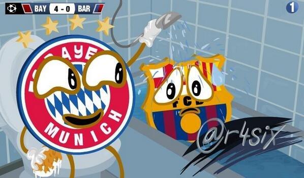 Карикатура. «Бавария» «умыла» «Барселону»