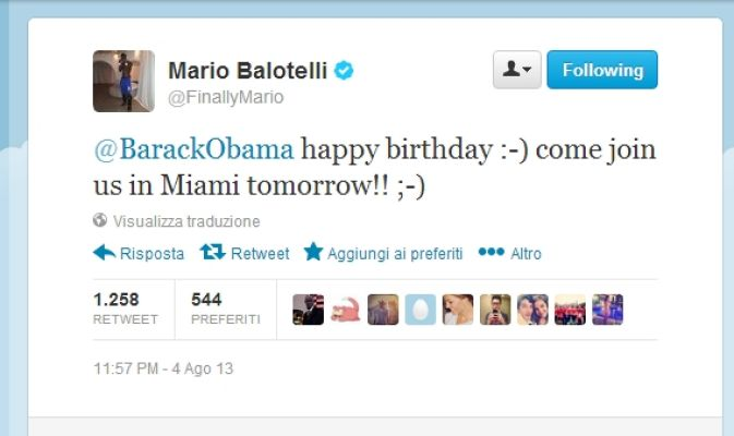 Балотелли пригласил Обаму на матч «Милана»