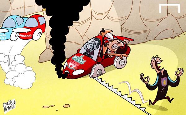 Лучшая карикатура дня. «Астон Вилла» останавливает «Ливерпуль» в чемпионской гонке