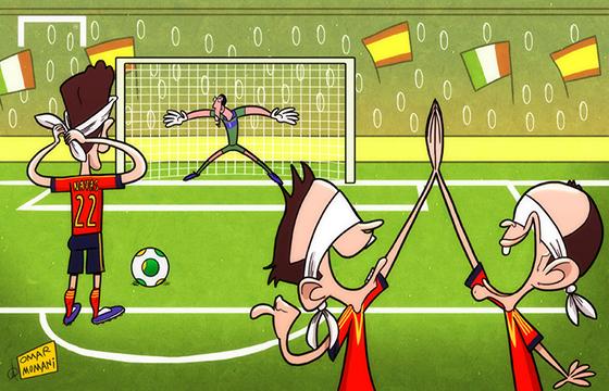 Лучшая карикатура дня. Сборная Испании в серии пенальти побеждает итальянцев