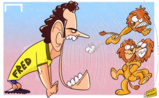 Лучшая карикатура дня. Фред выразил готовность убить льва, дабы попасть на чемпионат мира