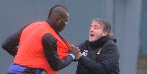 Man City boss Mancini and Balotelli got into scrap at a training session