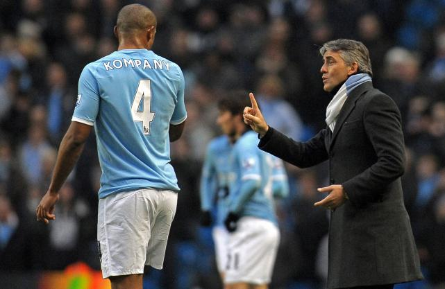 Mancini disappointed with Wilmots' decision to field Kompany