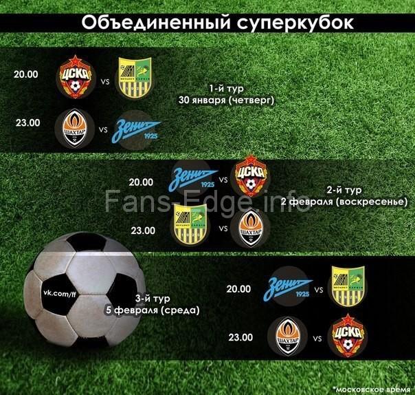 Объединенный суперкубок с участием ЦСКА и «Зенита» стартует 30 января