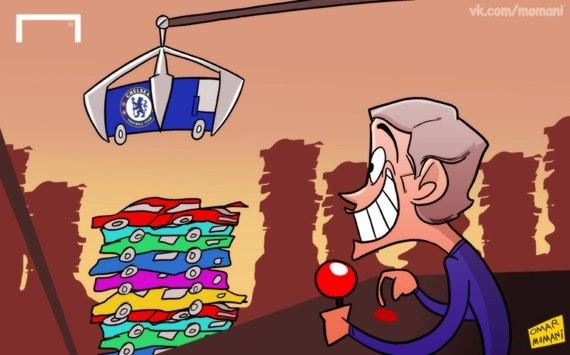 Лучшая карикатура дня. Моуринью уверяет, что в «Челси» больше не будет никакого «автобуса»